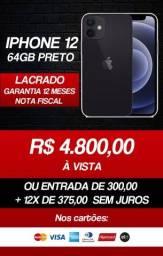 Título do anúncio: Iphone 12 64GB Preto - Novo, Lacrado, NF, e Garantia 12 meses
