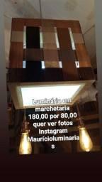 Luminária em marchetaria 180,00 por 80,00