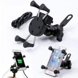 Suporte Garra de celular com carregador para moto