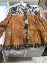 casaco de couro argentino com pele