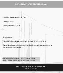 Título do anúncio: Oportunidade Profissional Técnico em Edificações / Arquiteto / Engenheiro