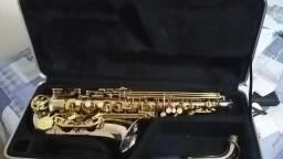 Sax alto novíssimo prata com dourado