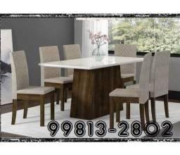 Pronta Entrega - Mega Mesa Tampo LAKA 6 Cadeiras Estofadas - Só R$1.389,00