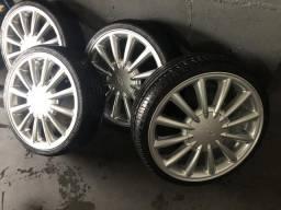 Rodas pow tec aro 17 semi novas pneus 185/35 17 - 2020