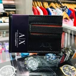 Carteira Armani Exchange AX Preta Couro Luxo