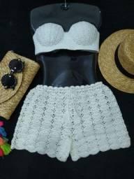 Conjunto em crochê branco