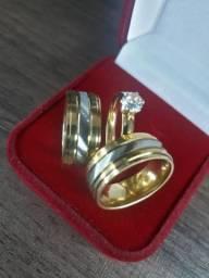 Par aliança banhada folheada ouro 18k filete de aço