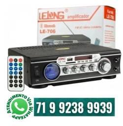 Amplificador Áudio Stereo Karaokê Bluetooth Fm Mp3 Le-706 USB 110v