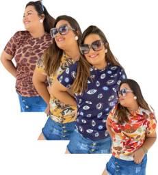 kit 5 camiseta tshirt feminina plus size preo de atacado