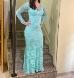 Título do anúncio: Vestido longo azul Festa, tam p-m