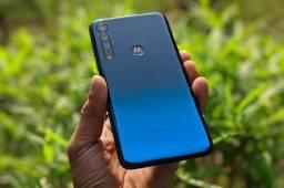 Motorola one macro azul topázio imperial vai com o fone do carregador original novo!