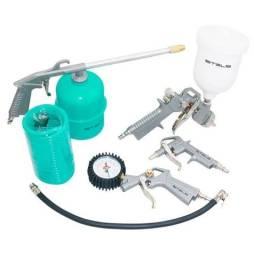 Jogo de acessórios Pneumáticos NOVO - Kit Pistola Com Tanque Baixo 5 peças