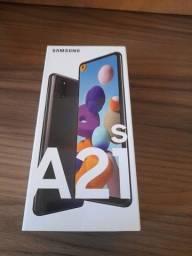 """Smartphone Samsung Galaxy A21s Preto 64GB, Câmera Quádrupla,Tela Infinita de 6.5"""""""