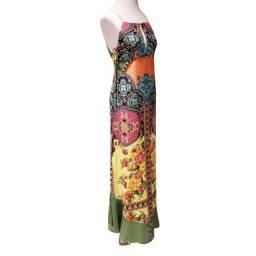 Título do anúncio: Vestido Feminino Longo Floral Verde Amarelo Farm Tamanho 38
