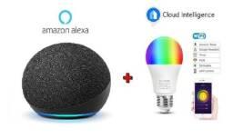 Alexa 4a Geração Echo Dot + Lâmpada Led Wi-fi Inteligente 10w Rgb e Branca