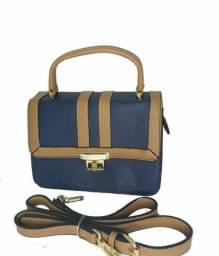 Bolsa Feminina Pequena Azul Escuro/ Caramelo