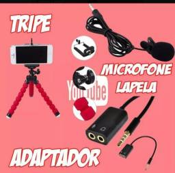 Combo triplo( microfone + adaptador + mini tripé)