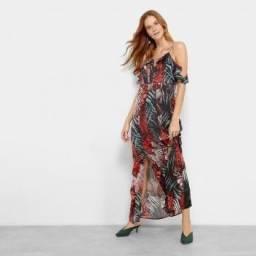Vestido Longo Lily Fashion Open Shoulder Chiffon Folhagem M