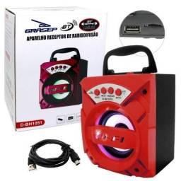 Caixa de Som Amplificada Portátil Bluetooth 5.0 D-BH1051 Grasep Rádio Fm Pen Drive Mp3