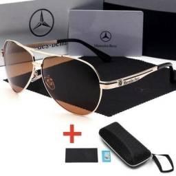 edaf4fd92aac8 Óculos De Sol Mercedes-Benz Metal Polarizado Uv400 Luxo - Marrom ou Prateado