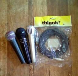 3 microfones funcionando + cabo novo no saco