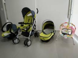Conjunto carrinho bebê + bebê conforto + moisés + cadeira descanso + espelho carro