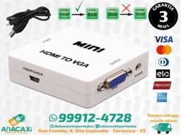 Mini Conversor De Hdmi Para Vga - Com Saida Audio