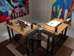 Mesa de estudo, em madeira maciça com vidro temperado 8mm zap 75-982263187