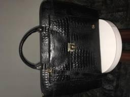 Bolsa/pasta em couro de crocodilo marca Couro e Cia