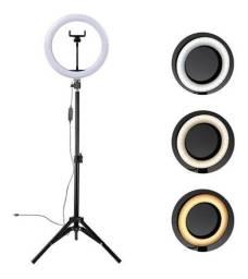 Iluminador Ring Light 10 Polegadas 25W 26cm com Tripé 2mts e Suporte de Celular- R$ 299,99