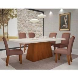 Título do anúncio: Mesa Vicenza Tampo Laka 6 Cadeiras Estofadas