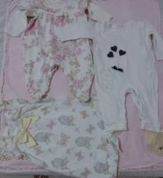 Título do anúncio: Macacão bebê menina- Lote 5 peças
