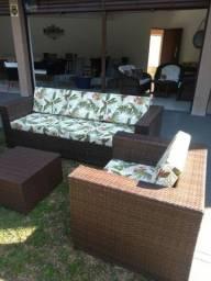 Título do anúncio: Conjunto de sofá quadrado em fibra sintética