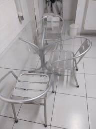 Título do anúncio: Mesa de vidro + cadeiras de alumínio