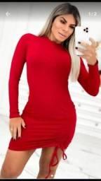 Vestido manga longa gringo vermelho. Temos tb preto