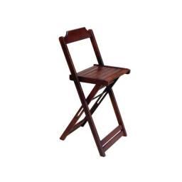 Cadeira De Madeira Alta Bistrô
