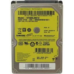 HD 500gb de notebook e memória DDR3 2gb