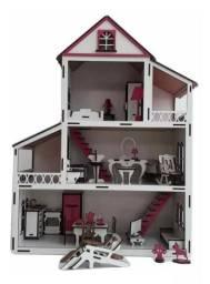 Casa Casinha + 23 Móveis+ 1 Boneca Barbie 12cm