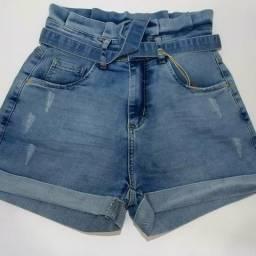 Shorts feminino jeans cintura alta Clochard