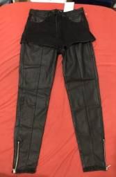 Calça skinny de couro 36/38(somente venda)