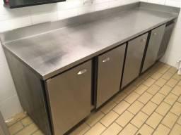 Balcão Refrigerado/Refrigerador Horizontal Inox Lujone 2400x600x900mm