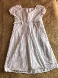 Vestido de lese branco para gestante tamanho P