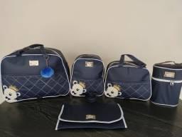 Kit Bolsas Maternidade 5 peças Azul Marinho Ursinho Príncipe