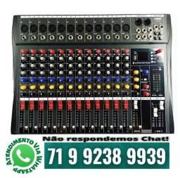 Mesa de Som Lelong 12 Canais LE 712 Bluetooth Usb Profissional