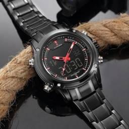 28261cf05f3 Relógio Preto em Aço Varias Funções - NaviForce