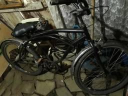 Bicicleta preta com paralama inox folha aero raio inox e cubo de rolamento