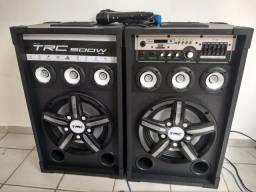Caixa de som Bluetooth TRC 397 Amplificada 500W