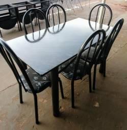 Conjunto mesa 6 lugares mármore
