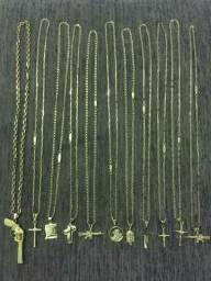 Cordão banhado a ouro 18 k + pingente