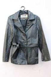 Jaqueta de couro legítimo com cinto preto feminino tam M